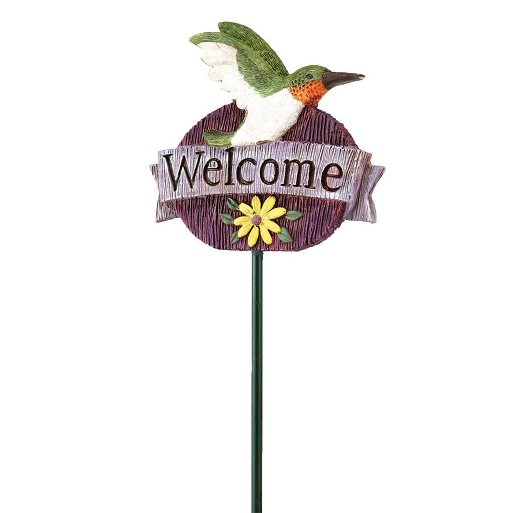 Department 56 Enchanted Guardians Welcome Hummingbird Fairy Garden Plant Pick 4039919